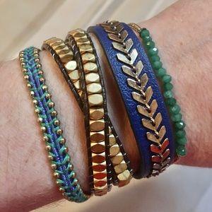 4 Stella Dot sample braclet NEW beads/wrap/leather